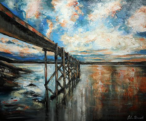 Click to enlarge Old Pier Holywood by John Stewart