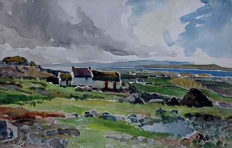 Click to enlarge Landscape Near The Bloody Foreland Looking Towards Bunbeg  by F A Ross