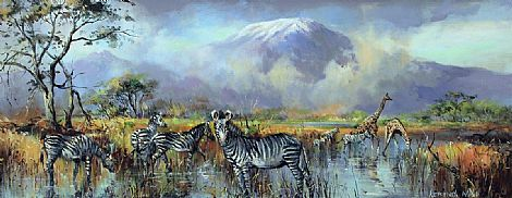 Click to enlarge Zebra at Kilimanjaro, Kenya 1972 by Kenneth Webb