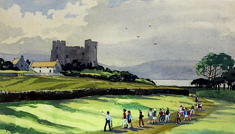 Click to enlarge Tourists At Greencastle County Down by Cupar Pilson