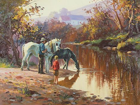 Click to enlarge Horses Drinking by Donal McNaughton