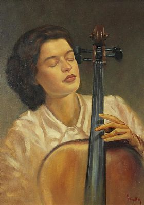 Click to enlarge Lady With Cello by Ken Hamilton