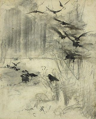 Click to enlarge Crows In Flight by Attributed to Mildred Ann Butler