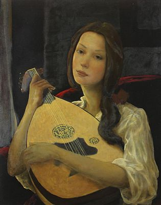 Click to enlarge Girl With A Lute by Ken Hamilton