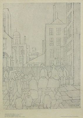 Click to enlarge Outside The Mill by L S Lowry