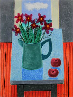 Click to enlarge Jug of Flowers and Fruit by Graham Knuttel