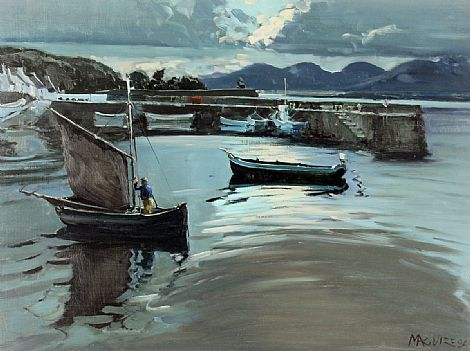 Click to enlarge 'Martin Pat' Evening, Roundstone Harbour by Cecil Maguire